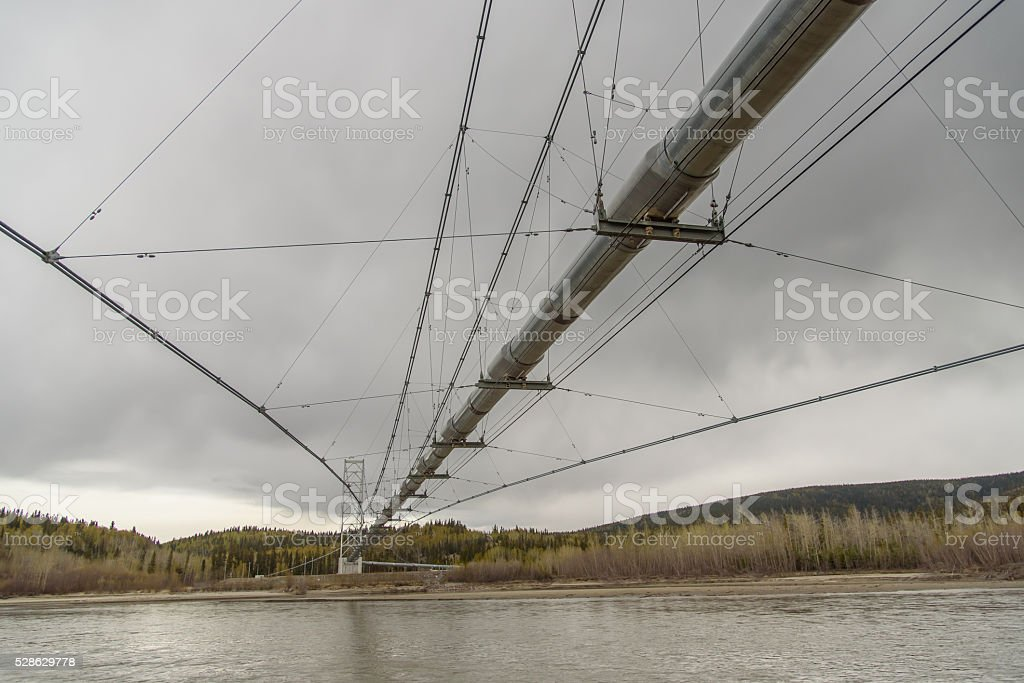 Trans Alaska Pipeline Over River stock photo