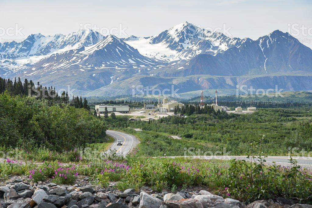 Trans Alaska Pipeline Pump Station in Summer Landscape stock photo