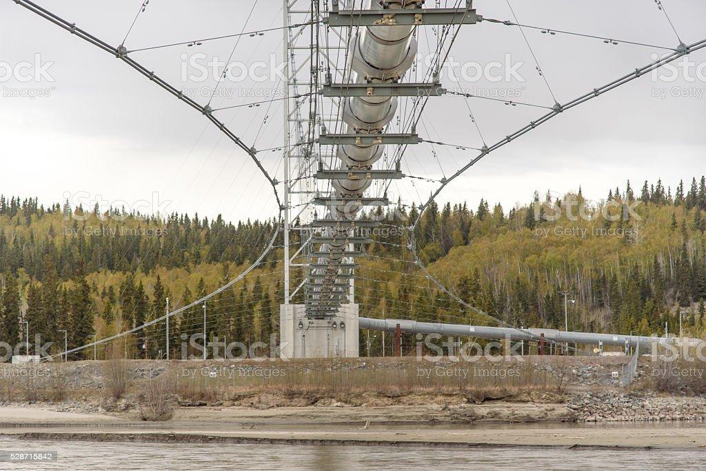Trans Alaska Pipeline Underside Close Up Over River stock photo