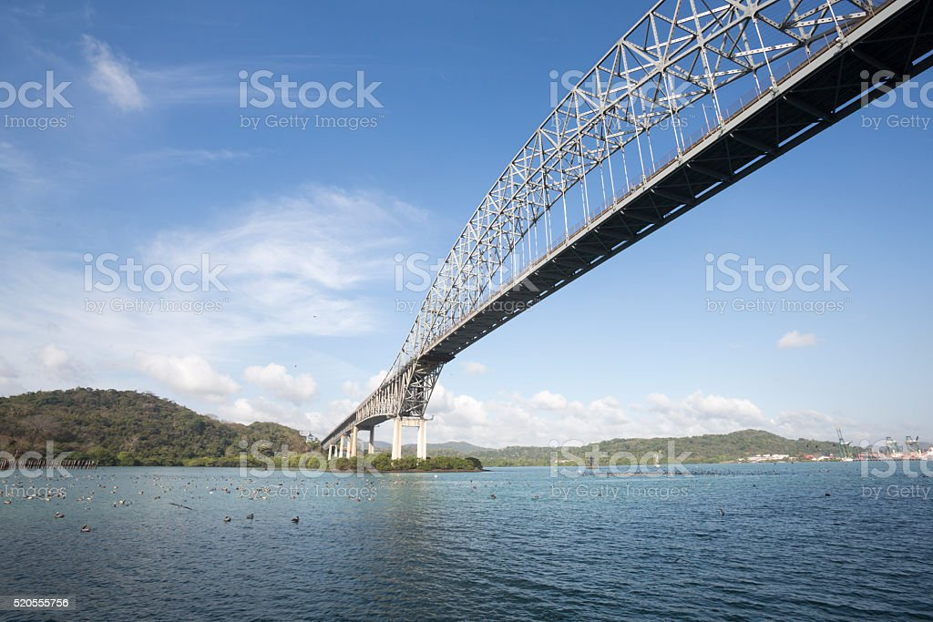 Trans American bridge in Panama stock photo