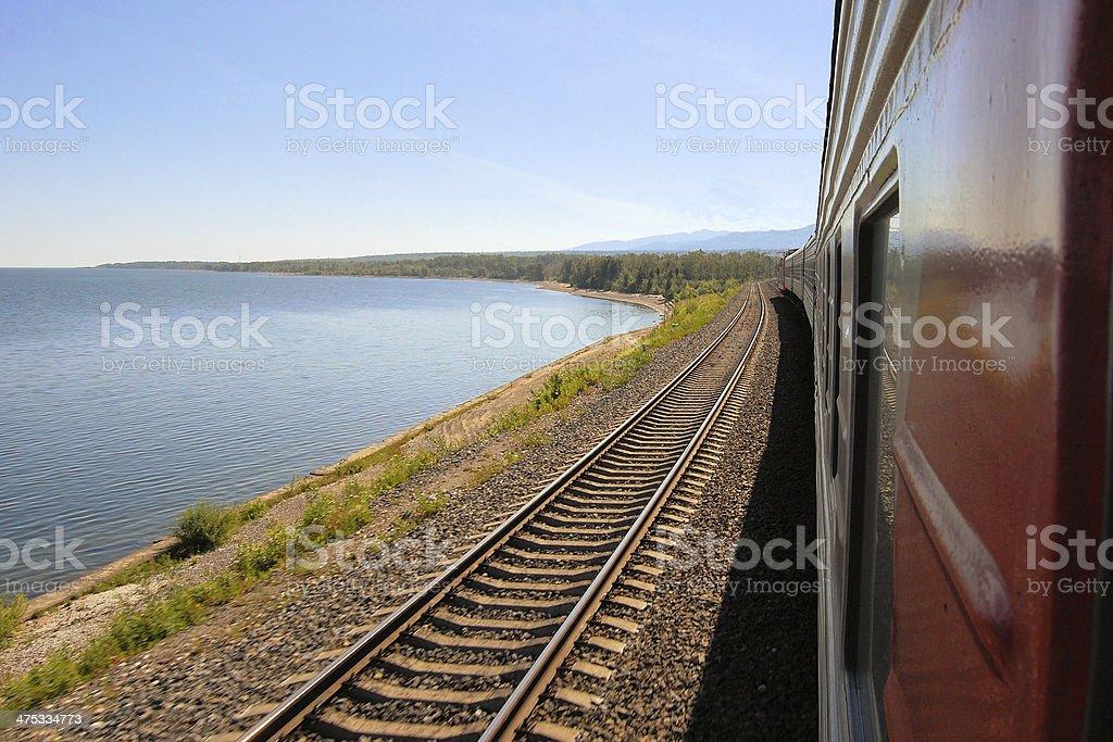 Trans Siberian Railway train, Baikal lake, Russia stock photo