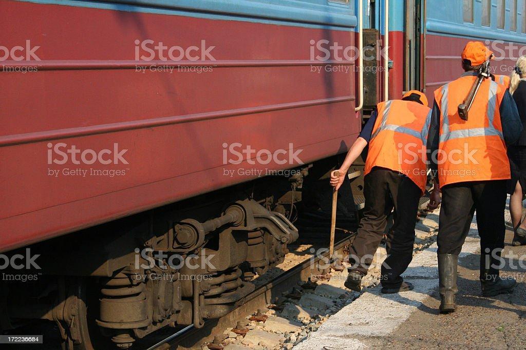 Trans Siberian railway workers stock photo