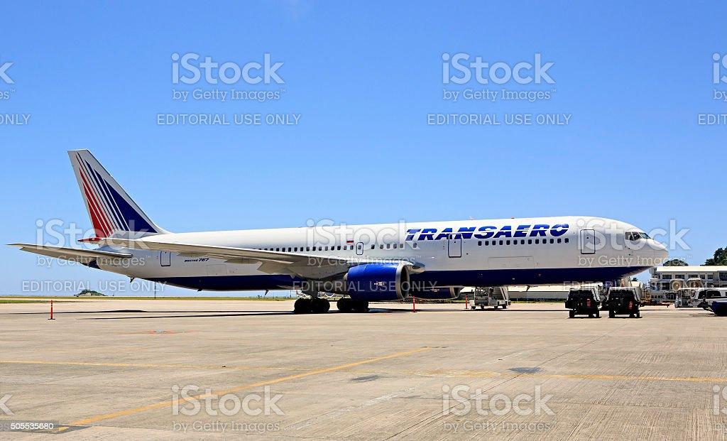 Transaero Airlines plane at Seychelles International Airport on Mahe Island stock photo