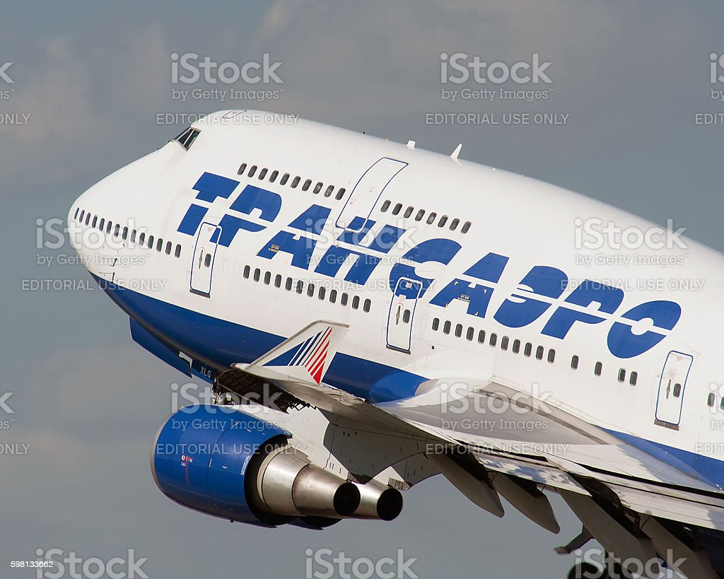 Transaero Boeing 747 departing from the Moscow stock photo