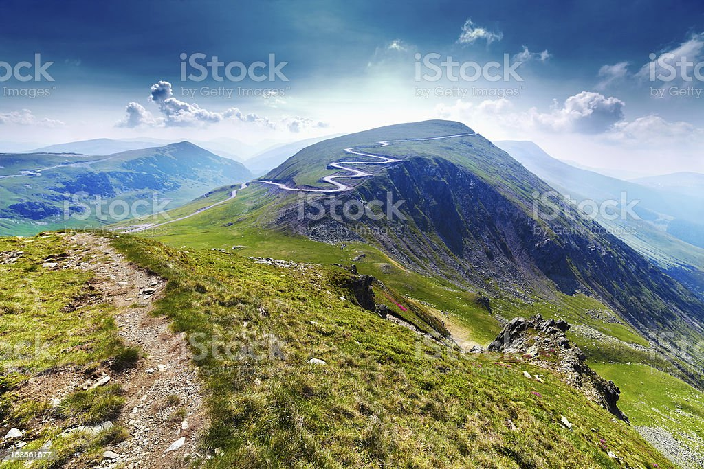 Transalpina road and Urdele peak in Romania stock photo