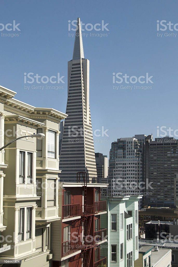 Transamerica Building and Downtown San Francisco from North Beach stock photo