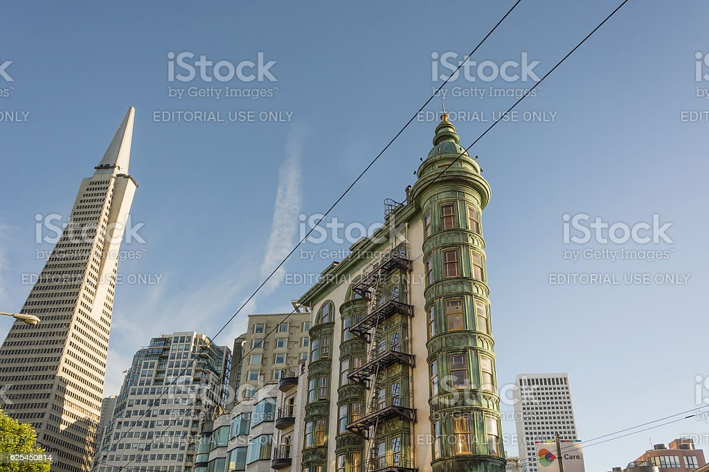 Transamerica Pyramid and Coppola Building stock photo