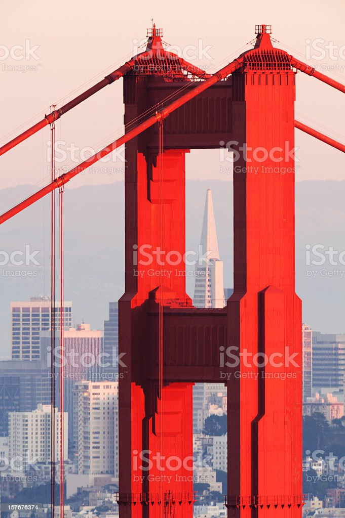 Transamerica Pyramid centered with the Golden Gate Bridge North Tower royalty-free stock photo