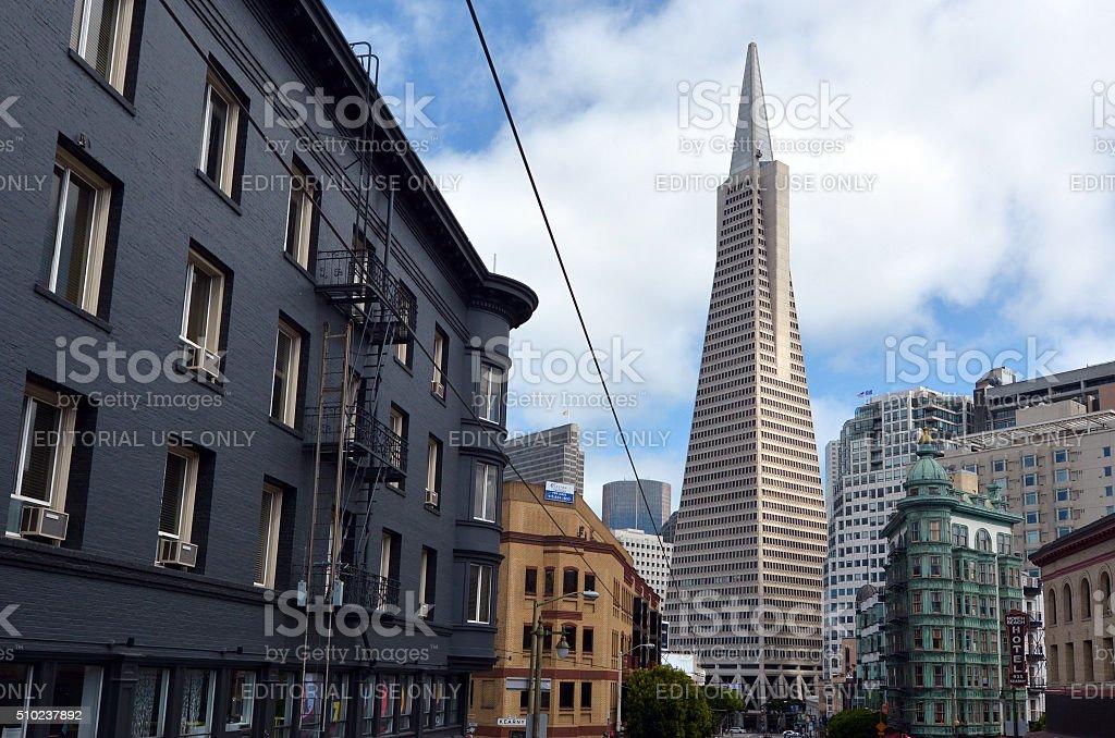Transamerica Pyramid in San Francisco financial district stock photo