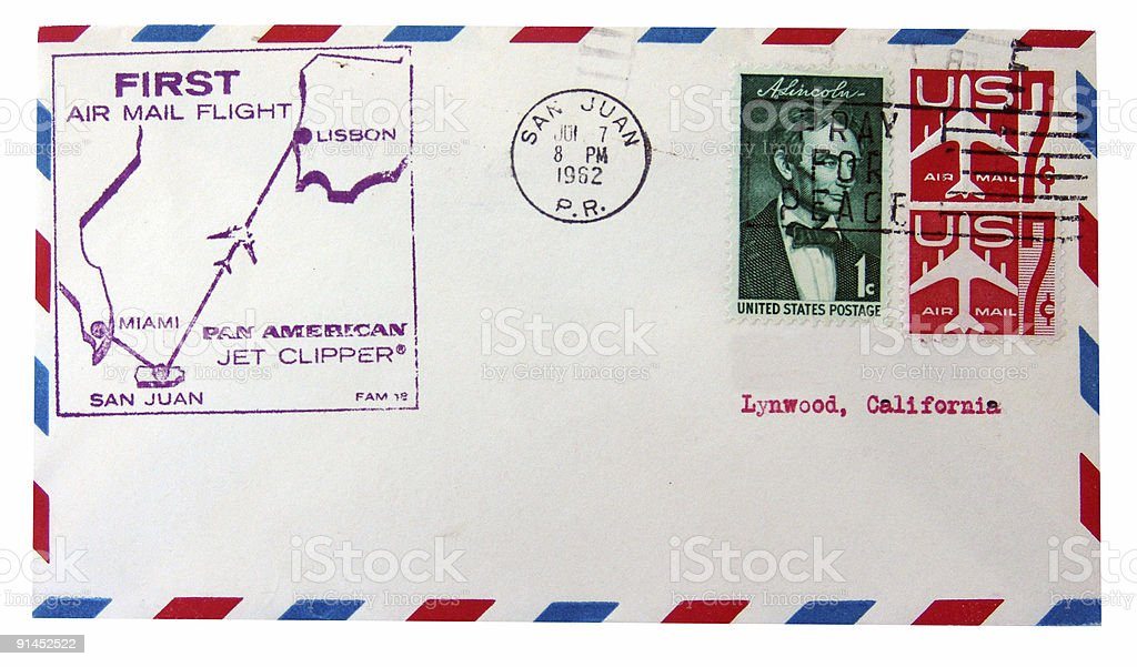 Transatlantic First Flight Cover stock photo