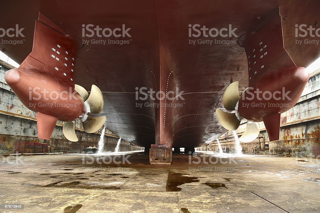 Transatlantic liner propellers royalty-free stock photo