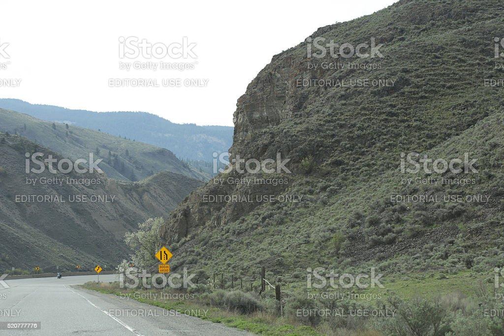 Trans-Canada Highway between Ashcroft and Spences Bridge, British Columbia, Spring stock photo