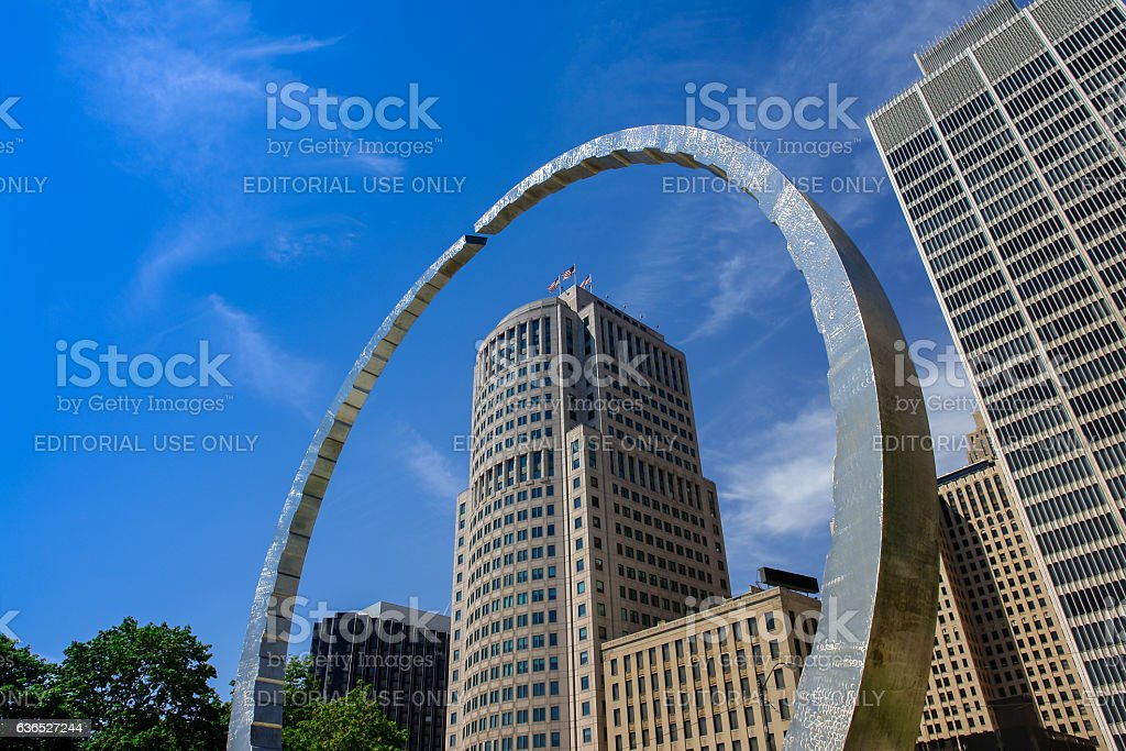 Transcending monument at Hart Plaza with West Jefferson skyskraper Detroit stock photo