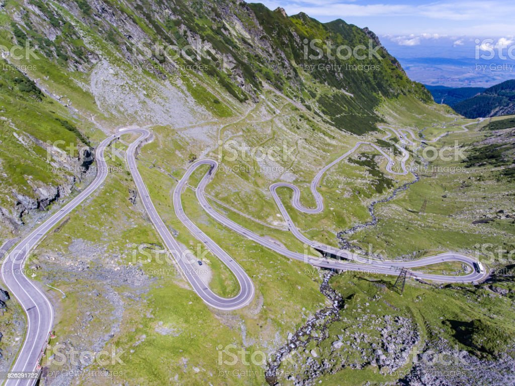 Transfagarasan road in up in the mountains in Transylvania Romania stock photo