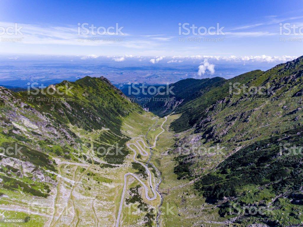 Transfagarasan road panorama aerial view stock photo