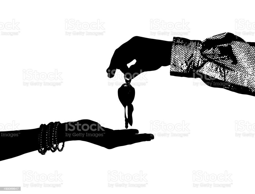 Transfer of ignition keys stock photo