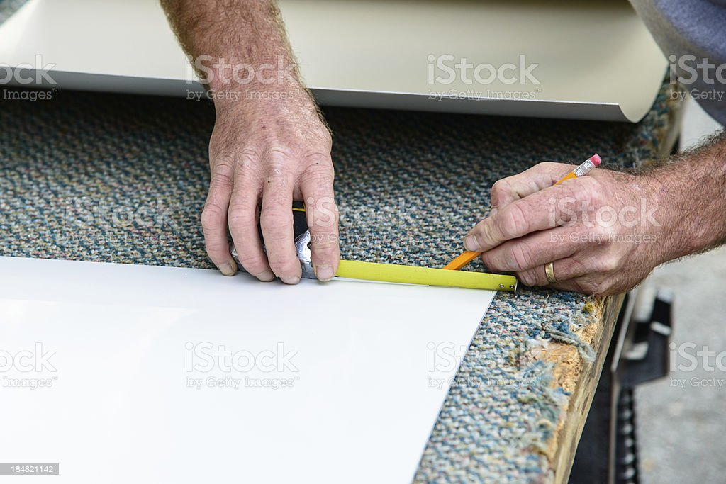 Transferring a measurement to material stock photo