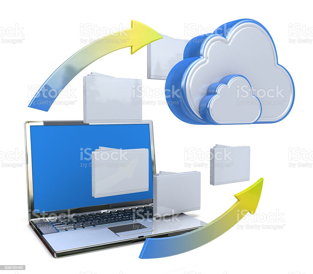 Transferring information or data to a cloud network server stock photo