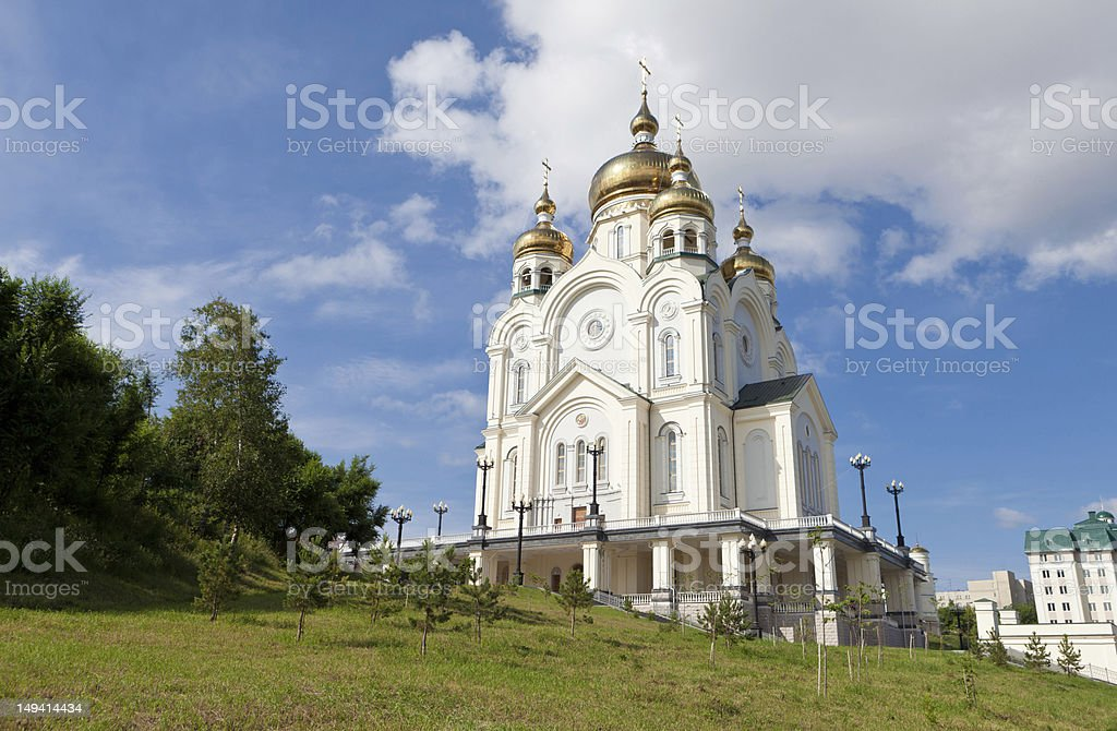Transfiguaration Cathedral in Khabarovsk, Russia stock photo