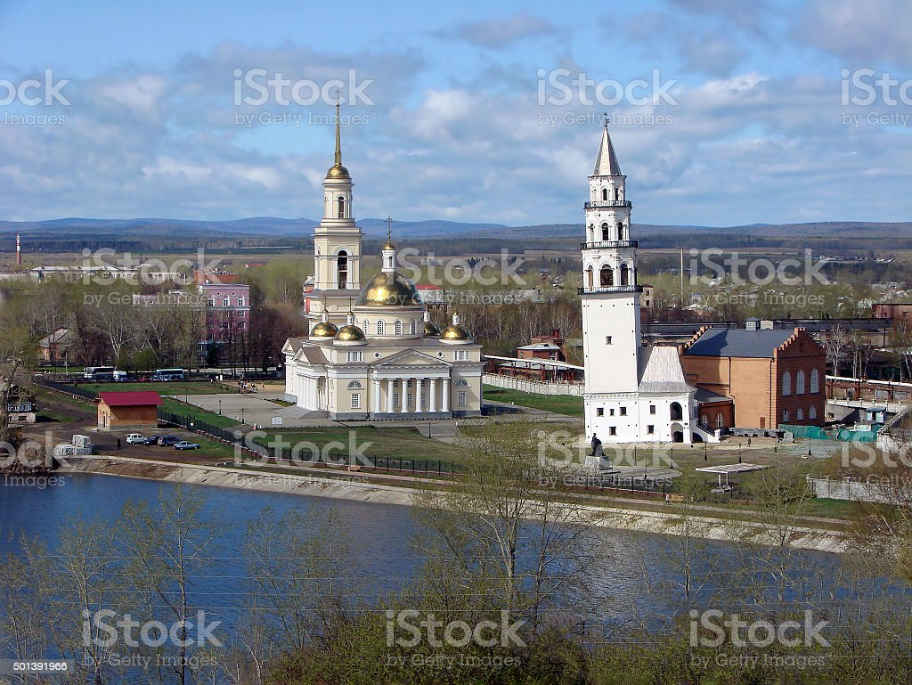 Transfiguration Cathedral and leaning tower Demidov. Nevyansk. Russia. stock photo