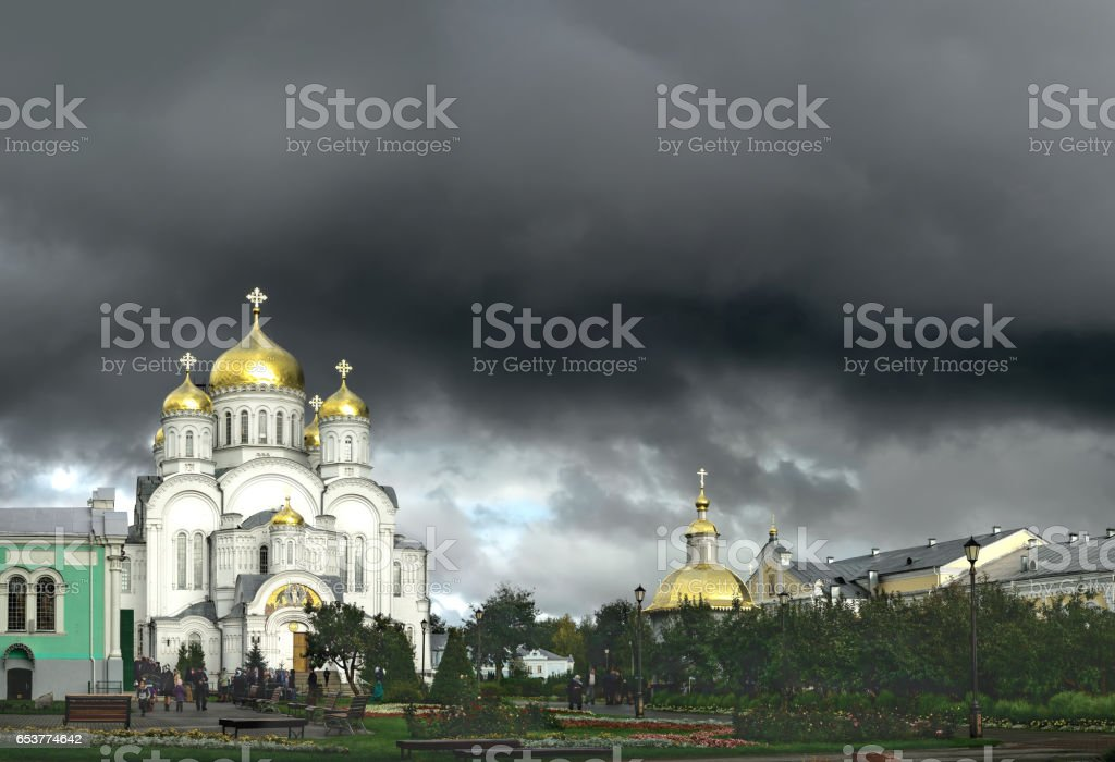 Transfiguration Cathedral in Diveevo (Russia) in the rays of the setting sun stock photo