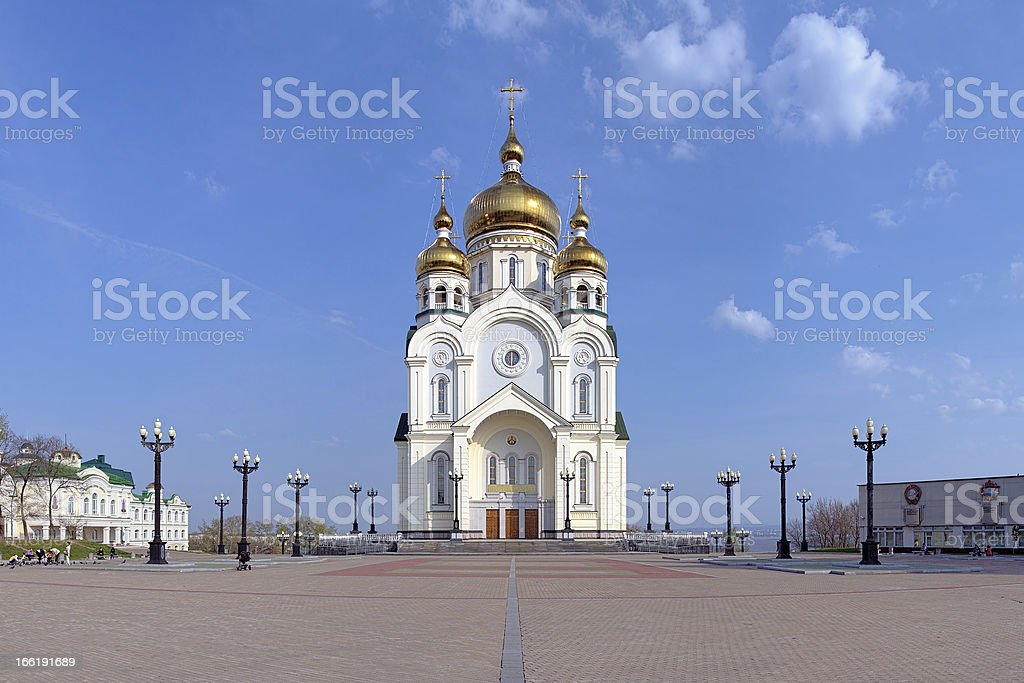 Transfiguration Cathedral in Khabarovsk, Far East, Russia royalty-free stock photo