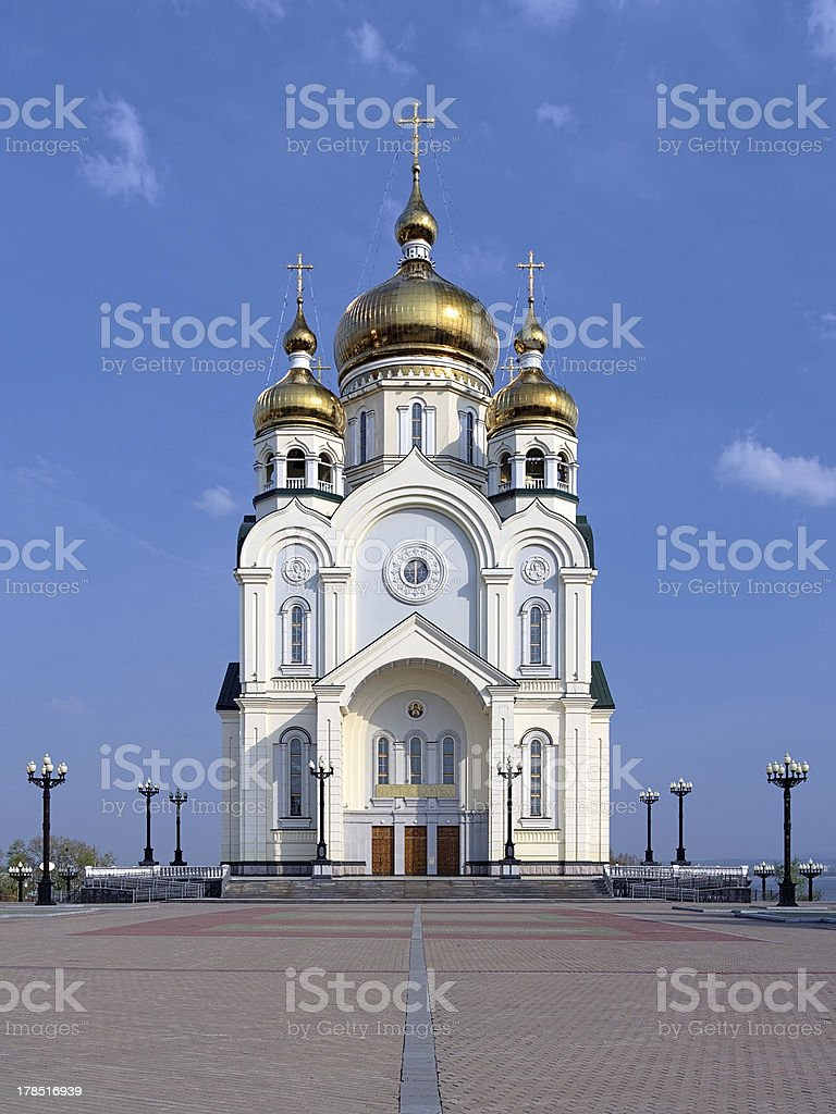 Transfiguration Cathedral in Khabarovsk, Far East, Russia stock photo