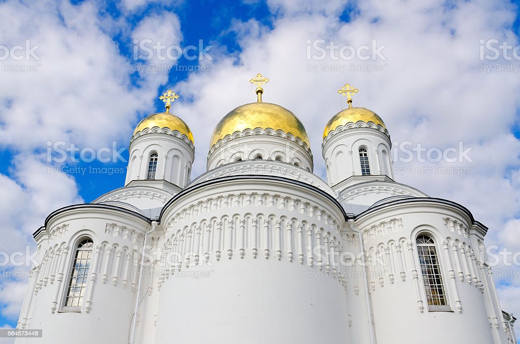 Transfiguration Cathedral of Holy Trinity Seraphim-Diveevo monastery, Diveevo, Russia stock photo