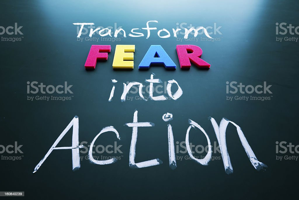 Transform fear into action concept royalty-free stock photo