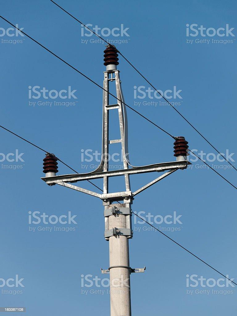 transformator against blue sky stock photo