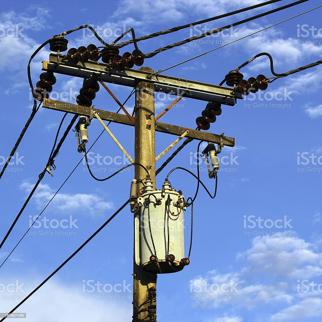 Transformer and power lines royalty-free stock photo