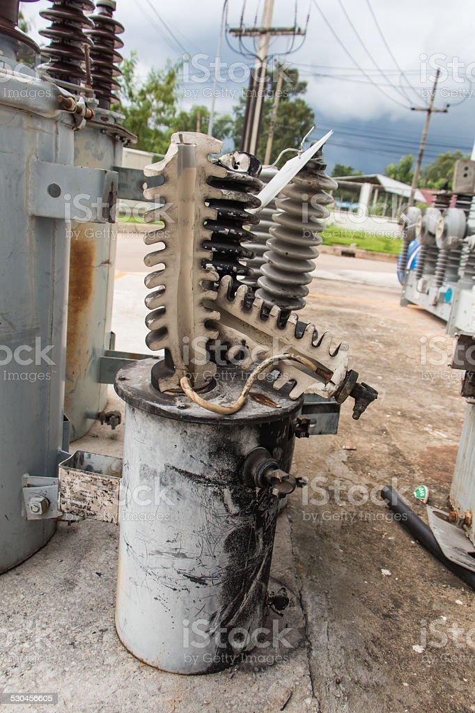Transformer bushing bomb blast damaged stock photo