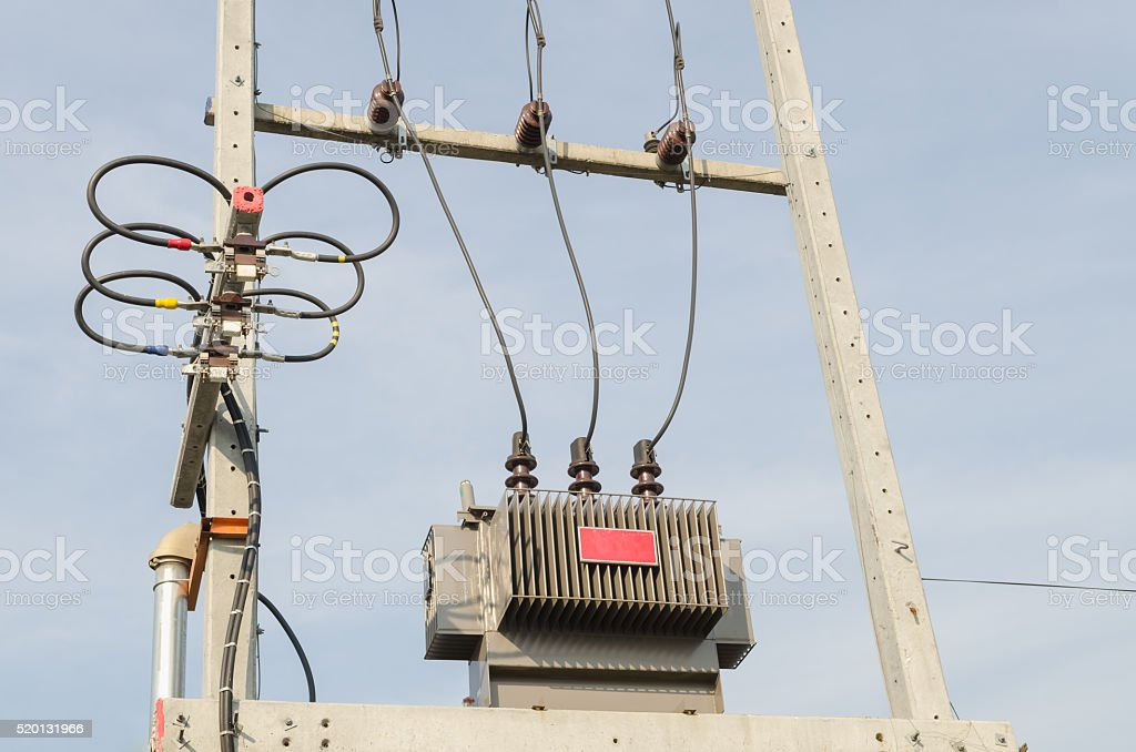 Transformer high voltage electrical. stock photo
