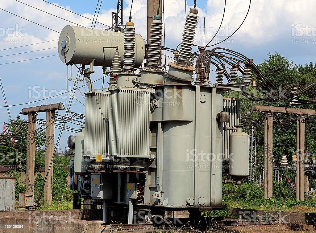 transformer on high power station stock photo