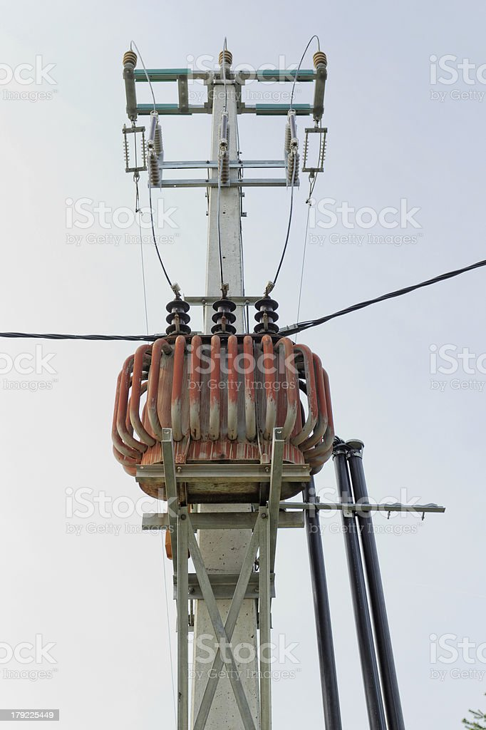 Transformer on high power station royalty-free stock photo