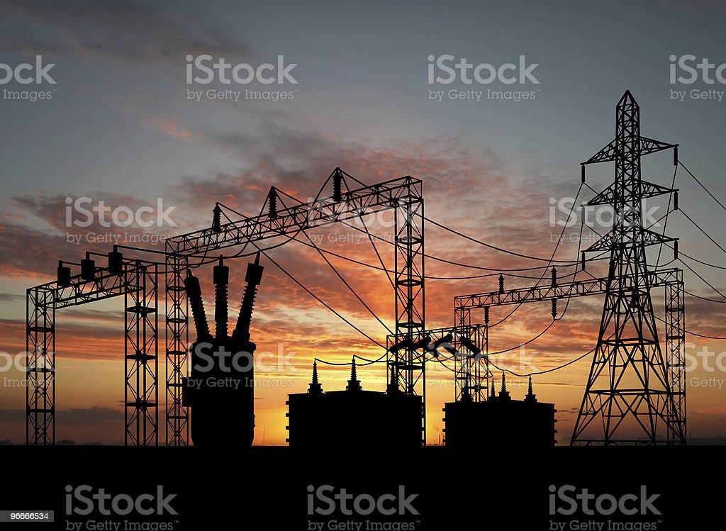 Transformer over orange sky stock photo