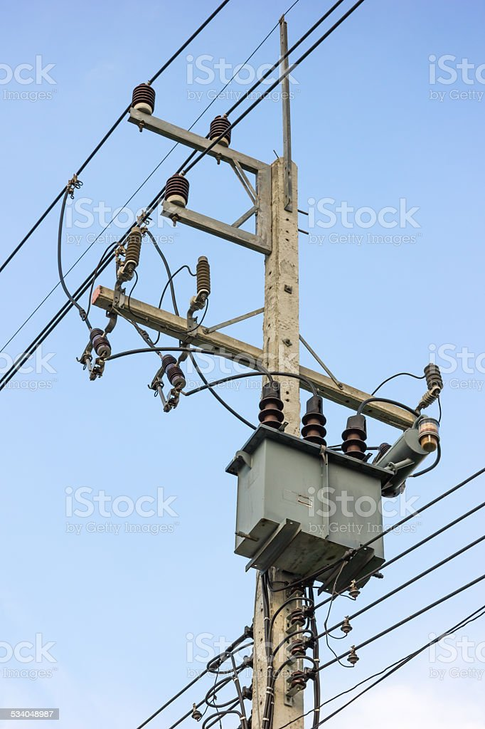transformer pole stock photo