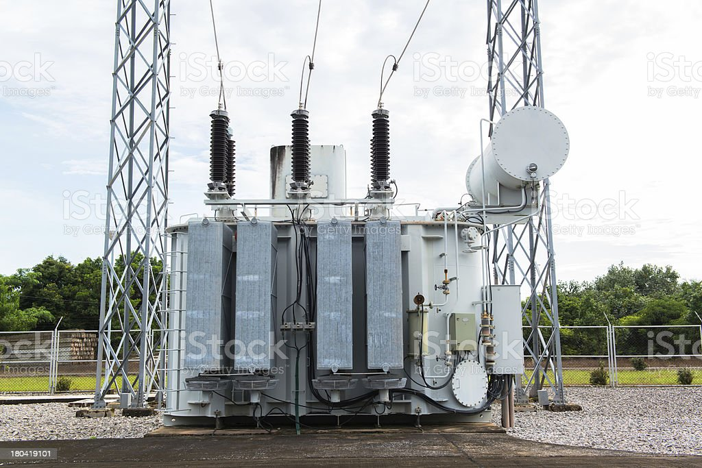 Transformer station and the high voltage electric pole royalty-free stock photo