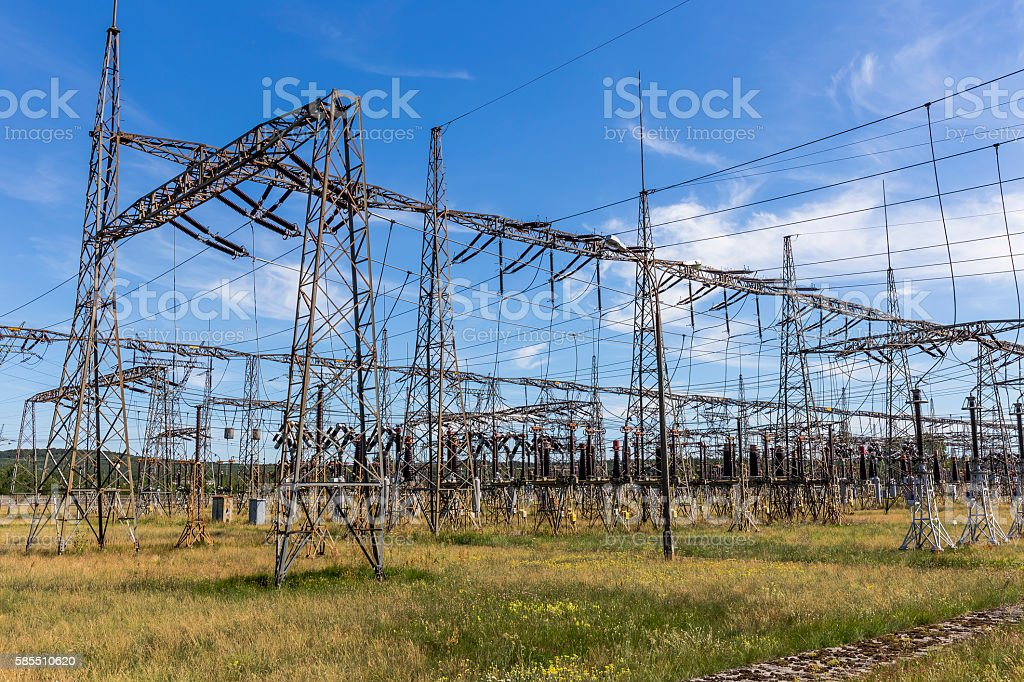 Transformer station in Power Station, Poland stock photo