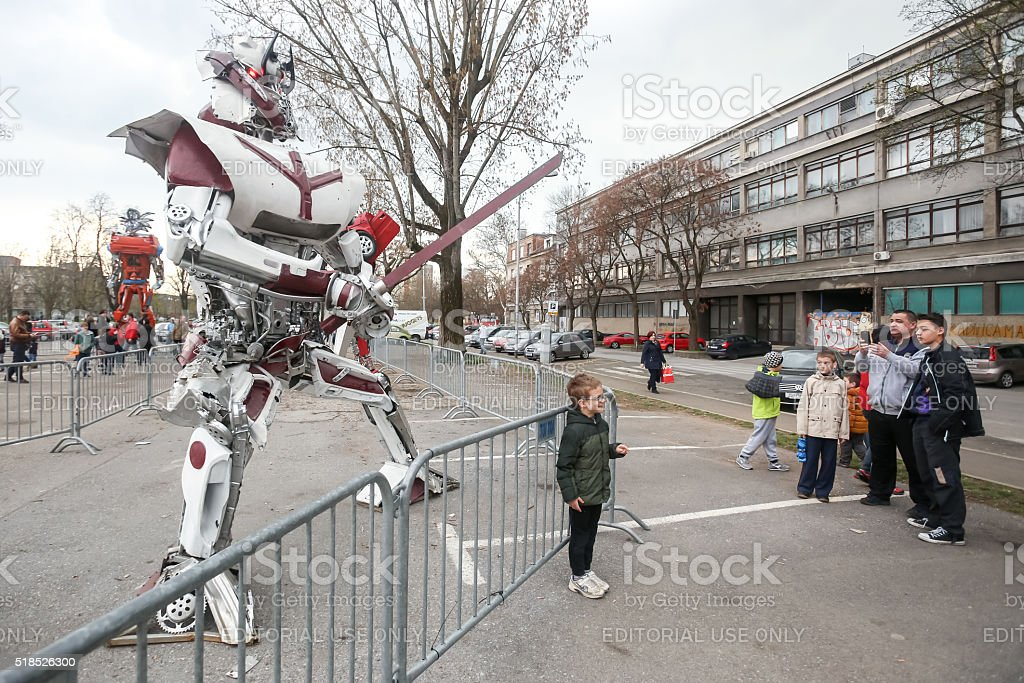 Transformers protecting Zagreb stock photo