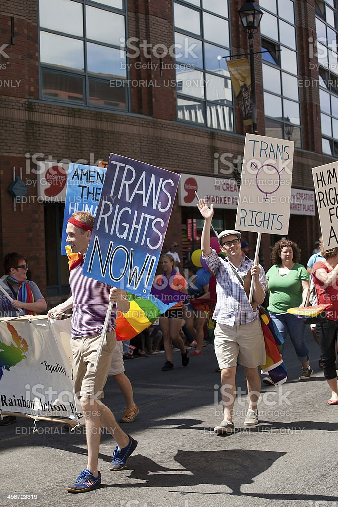Transgender Rights Support Signs at Pride Parade royalty-free stock photo