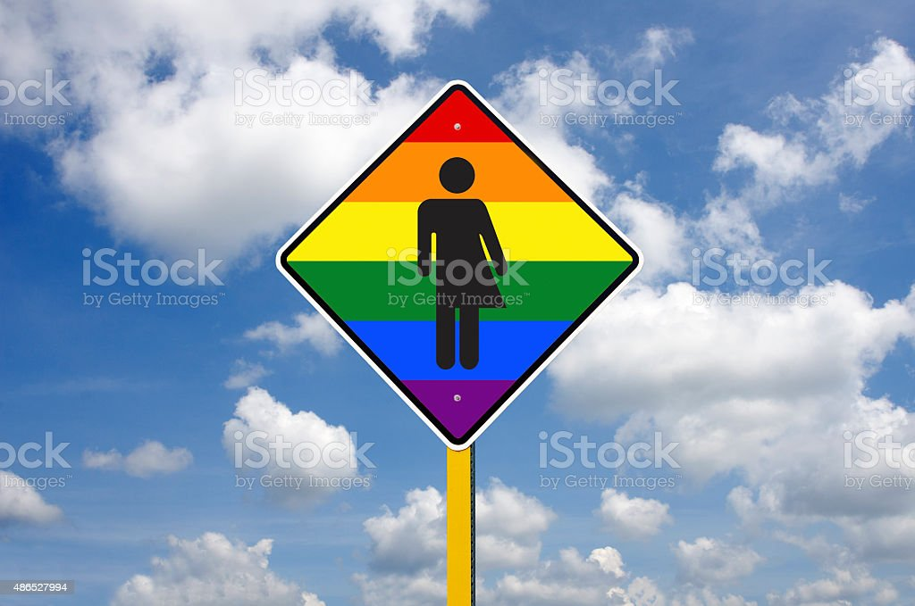 Transgender Road Sign in Front of a Blue Sky stock photo