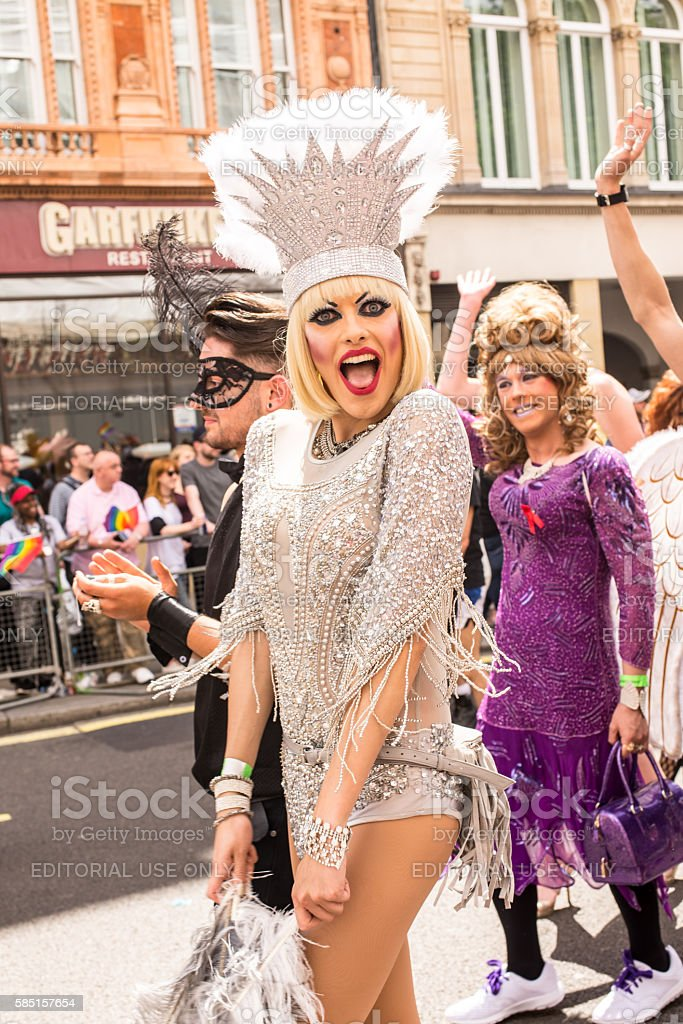 Transgender taking part in London's Gay Pride, 2016 in London. stock photo