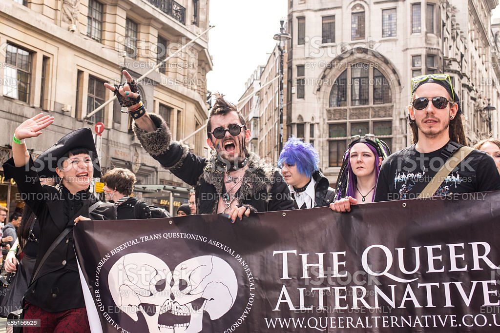 Transgenders  from Queer alternative taking part in London's Gay Pride stock photo