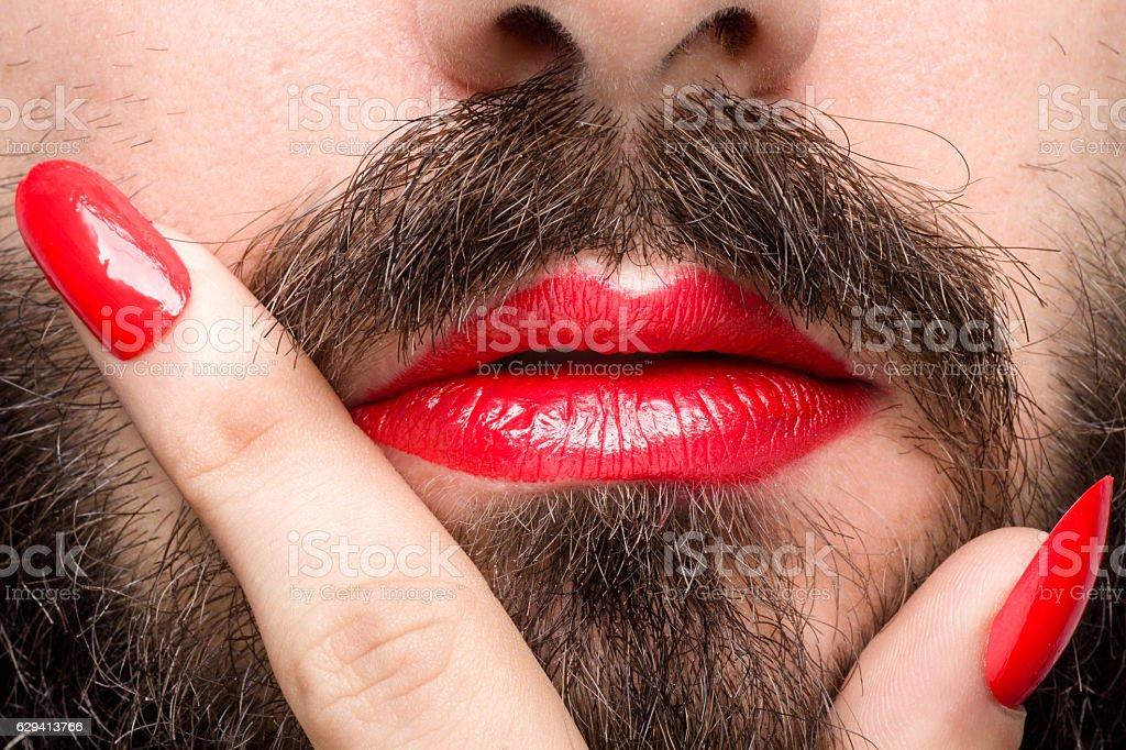 Transgender's Mouth stock photo
