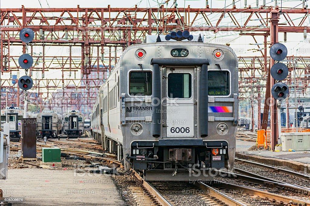 NJ Transit commuter service departs Hoboken Terminal stock photo