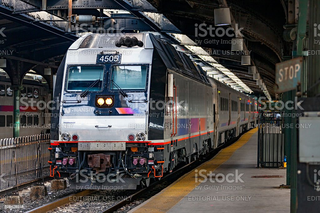 NJ Transit commuter service in historic Hoboken Terminal stock photo