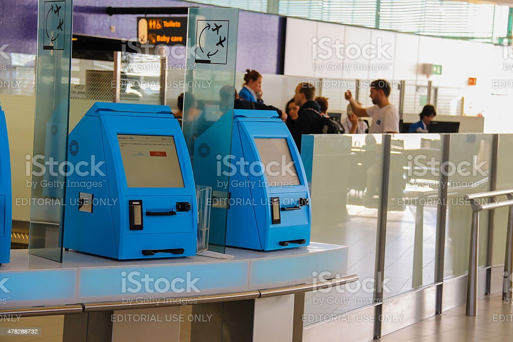 Transit passengers are registered in the airport terminal stock photo
