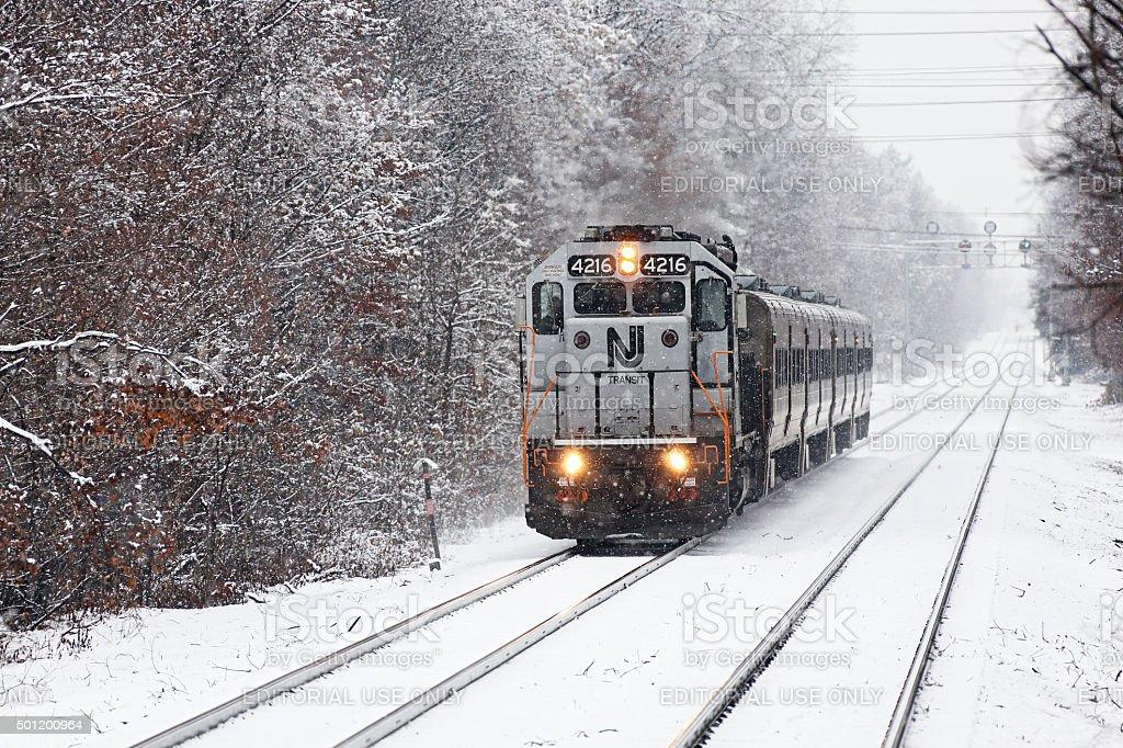 NJ Transit push-pull commuter train in winter snow stock photo