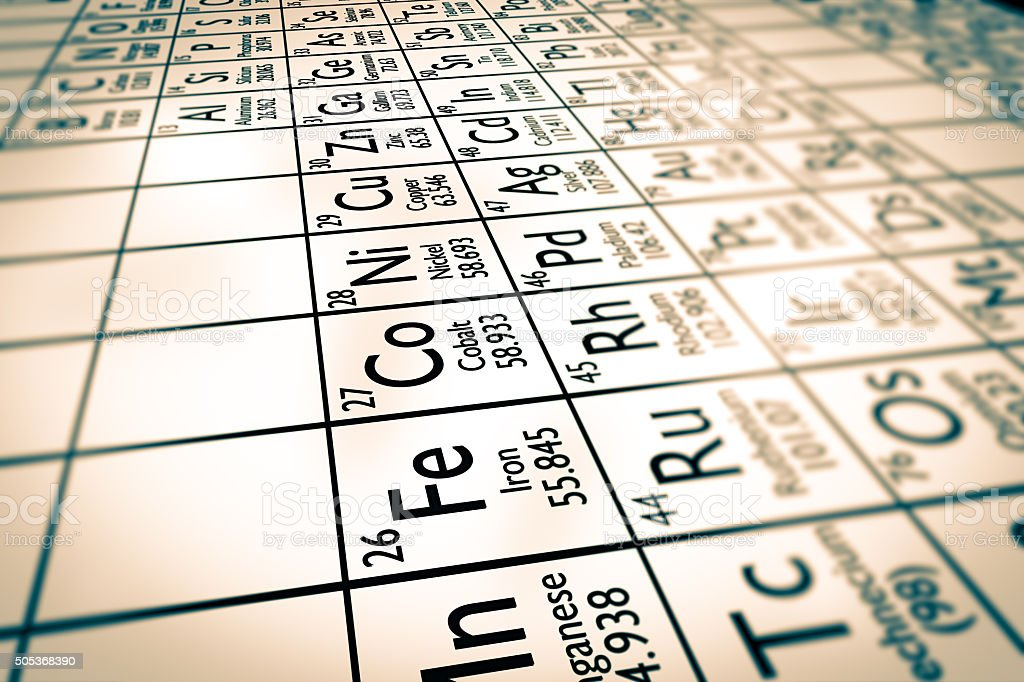 Transition metals stock photo